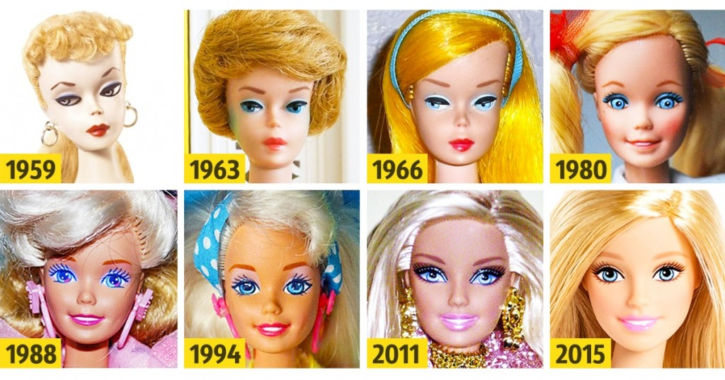 evolution poupee-barbie 1959-2016 mattel