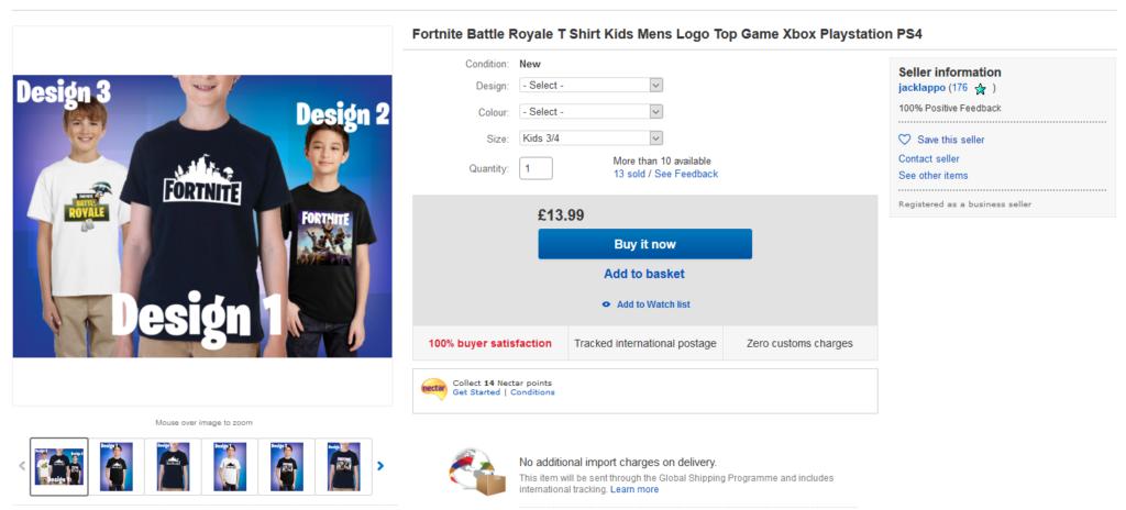 Vetements tshirts fortnite enfants